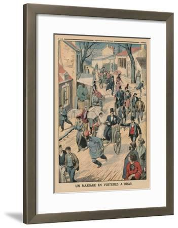A Wedding on Handcarts, Back Cover Illustration from 'Le Petit Journal', Supplement Illustre, 5th…-French School-Framed Giclee Print