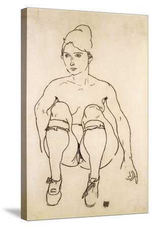 Seated Nude with Shoes and Stockings; Sitzende Akt Mit Schuhen Und Strumpfen, 1918-Egon Schiele-Stretched Canvas Print