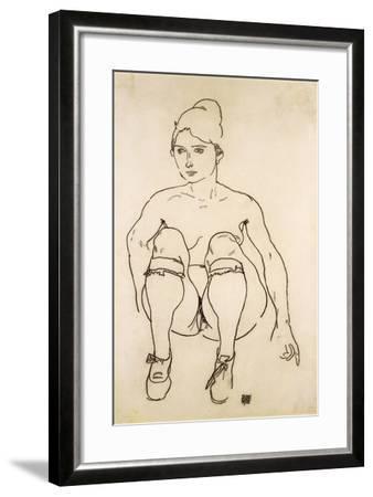 Seated Nude with Shoes and Stockings; Sitzende Akt Mit Schuhen Und Strumpfen, 1918-Egon Schiele-Framed Giclee Print