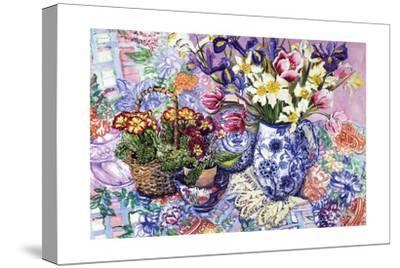 Daffodils, Tulips and Iris in a Jacobean Blue and White Jug with Sanderson Fabric and Primroses,…-Joan Thewsey-Stretched Canvas Print