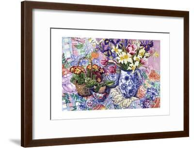 Daffodils, Tulips and Iris in a Jacobean Blue and White Jug with Sanderson Fabric and Primroses,…-Joan Thewsey-Framed Giclee Print