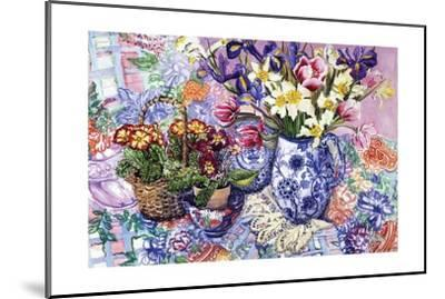 Daffodils, Tulips and Iris in a Jacobean Blue and White Jug with Sanderson Fabric and Primroses,…-Joan Thewsey-Mounted Giclee Print