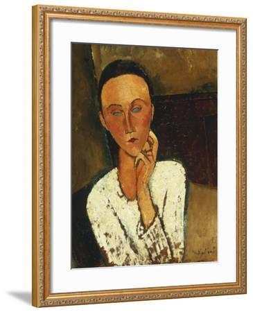 Lunia Czechowska (With Hand on the Right Cheek); Lunia Czechowska (La Main Gauche Sur La Joue),…-Amedeo Modigliani-Framed Giclee Print