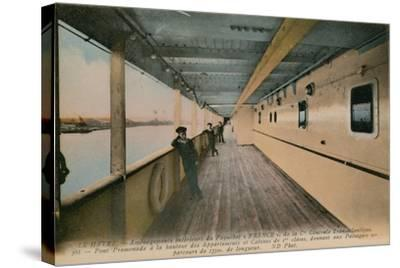 Le Havre - Interior of SS France, Ocean Liner Owned by Compagnie Generale Transatlantique.…-French Photographer-Stretched Canvas Print