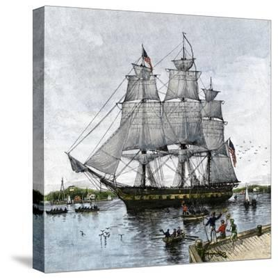 """USS """"Constitution"""" Being Towed Out of Boston Harbor, 1812--Stretched Canvas Print"""