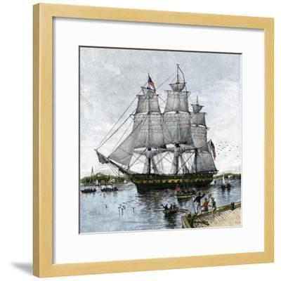 """USS """"Constitution"""" Being Towed Out of Boston Harbor, 1812--Framed Giclee Print"""