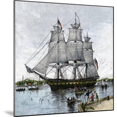 """USS """"Constitution"""" Being Towed Out of Boston Harbor, 1812--Mounted Giclee Print"""