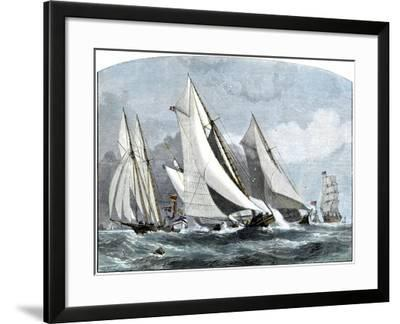 """Atlanta, """"Tidal Wave,"""" and """"Mischief"""" in An America's Cup Race Off Sandy Hook, NJ, 1881--Framed Giclee Print"""