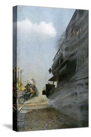 Motorcyclist narrowly Escapes Crossing Between Two Locomotives, Early 1900s--Stretched Canvas Print