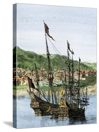 Spanish Ships in a Colonial Port--Stretched Canvas Print
