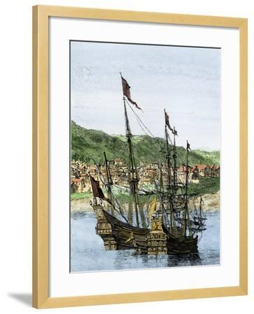Spanish Ships in a Colonial Port--Framed Giclee Print