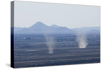 Dust Devils Twirl in the Desert Along the Mexico Border, Southern New Mexico--Stretched Canvas Print