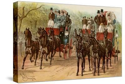 Coaches and Horse Teams of Upperclass Londoners, 1880s--Stretched Canvas Print