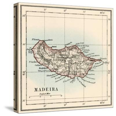Map of the Island of Madeira, 1870s--Stretched Canvas Print