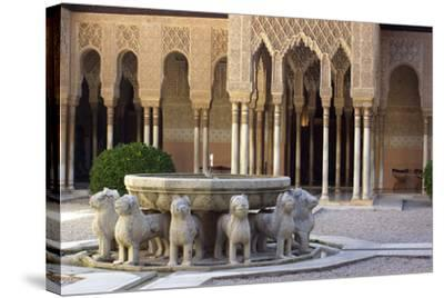 Courtyard of the Lions in the Alhambra, a Medieval Moorish City, Granada, Spain--Stretched Canvas Print