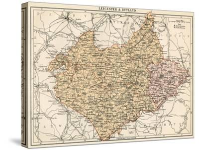 Map of Leicestershire and Rutland, England, 1870s--Stretched Canvas Print