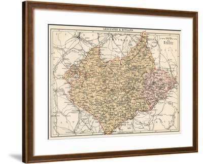 Map of Leicestershire and Rutland, England, 1870s--Framed Giclee Print