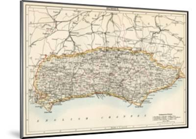 Map of Sussex, England, 1870s--Mounted Giclee Print