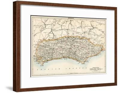 Map of Sussex, England, 1870s--Framed Giclee Print