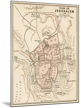 Map of the City of Jerusalem, 1870s--Mounted Giclee Print