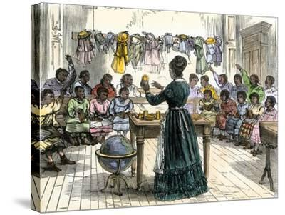 """Teaching Objects to Children in a """"colored School,"""" New York City, 1870--Stretched Canvas Print"""