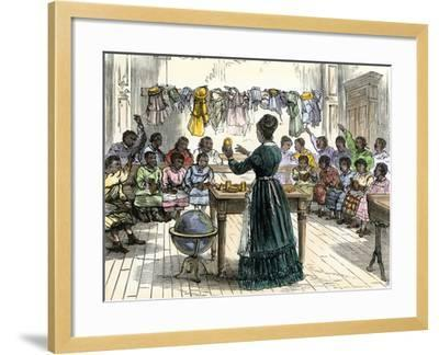 """Teaching Objects to Children in a """"colored School,"""" New York City, 1870--Framed Giclee Print"""