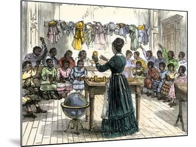 """Teaching Objects to Children in a """"colored School,"""" New York City, 1870--Mounted Giclee Print"""