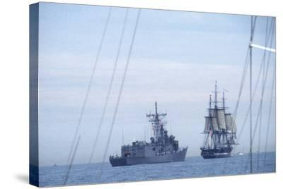"USS Constitution ""Old Ironsides"" Under Sail, Escorted by Modern US Navy Frigate, 1997--Stretched Canvas Print"