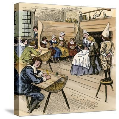 Colonial Schoolroom with a Child in a Dunce Cap--Stretched Canvas Print