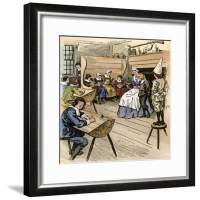Colonial Schoolroom with a Child in a Dunce Cap--Framed Giclee Print