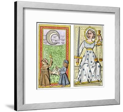 Playing Cards of Moon (Left) and Justice (Right) From the Court of Charles VI, France, Circa 1400--Framed Giclee Print