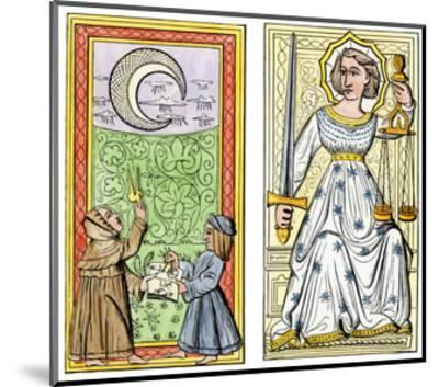 Playing Cards of Moon (Left) and Justice (Right) From the Court of Charles VI, France, Circa 1400--Mounted Giclee Print