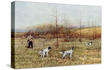 Bird Hunter with His Setters in the Field, Circa 1900--Stretched Canvas Print