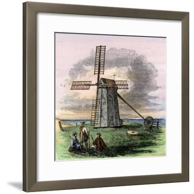 Windmill in Truro on Cape Cod, Massachusetts, 1850s--Framed Giclee Print