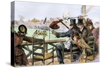Audience Enjoying a College Football Game, 1880s--Stretched Canvas Print