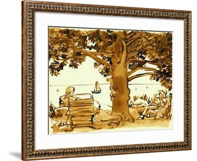 Picnic on the Maine Coast, 1975, ink drawing--Framed Giclee Print