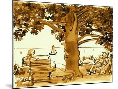 Picnic on the Maine Coast, 1975, ink drawing--Mounted Giclee Print