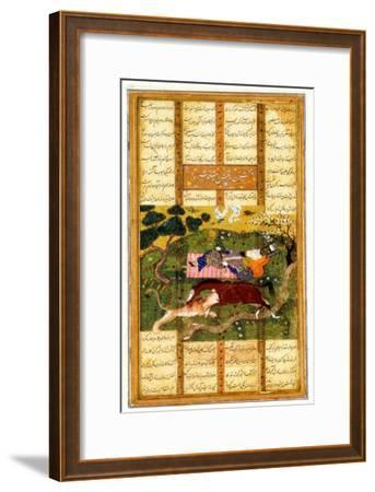 Rakhsh Kills An Attacking Lion While Rustam Sleeps. From the Shahnama (Book of Kings)--Framed Giclee Print