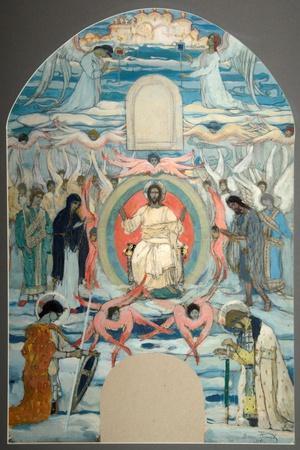 The Saviour Enthroned-Mikhail Vasilyevich Nesterov-Stretched Canvas Print
