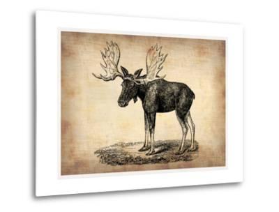 Vintage Moose-NaxArt-Metal Print