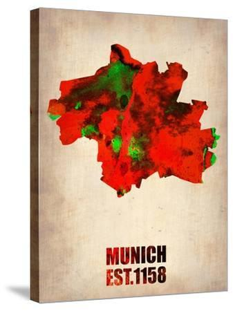 Munich Watercolor Map-NaxArt-Stretched Canvas Print