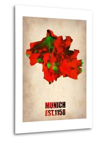 Munich Watercolor Map-NaxArt-Metal Print