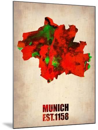 Munich Watercolor Map-NaxArt-Mounted Art Print