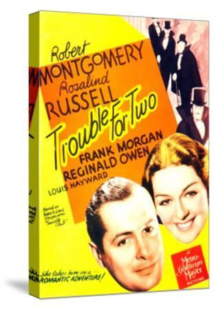 TROUBLE FOR TWO, US poster art, from left: Robert Montgomery, Rosalind Russell, 1936--Stretched Canvas Print