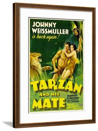 TARZAN AND HIS MATE, Johnny Weissmuller, Maureen O'Sullivan, 1934--Framed Art Print