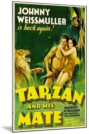 TARZAN AND HIS MATE, Johnny Weissmuller, Maureen O'Sullivan, 1934--Mounted Art Print