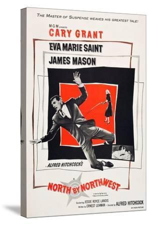 North by Northwest, Cary Grant, Eva Marie Saint on poster art, 1959--Stretched Canvas Print