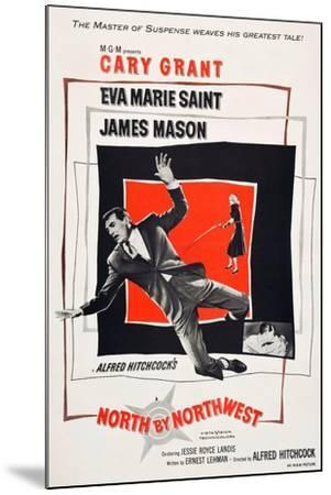 North by Northwest, Cary Grant, Eva Marie Saint on poster art, 1959--Mounted Art Print
