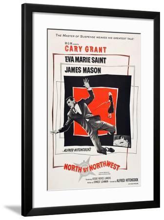 North by Northwest, Cary Grant, Eva Marie Saint on poster art, 1959--Framed Art Print