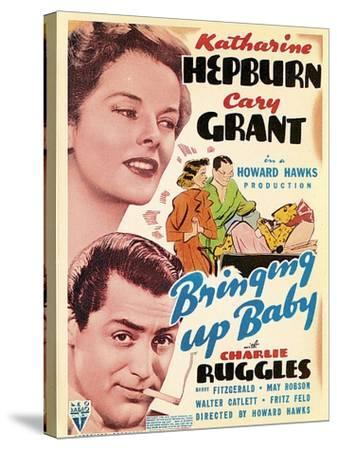 Bringing Up Baby, Katharine Hepburn, Cary Grant on window card, 1938--Stretched Canvas Print